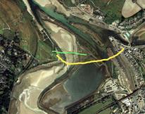 Late 1700s in yellow, Shorter route in green | Restore a causeway across from the Spit to Lelant Quay